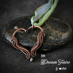 Funky Orchid Heart - Sead Bead and Woven Copper Wire Necklace