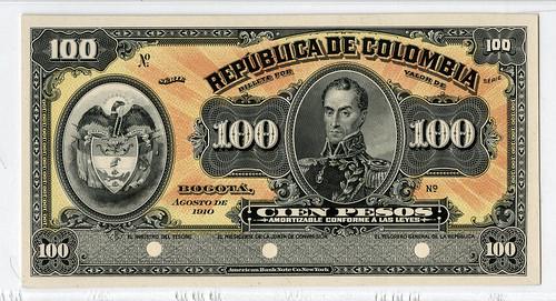 Lot 216 Republica de Colombia, 1910, 100 Pesos Proof