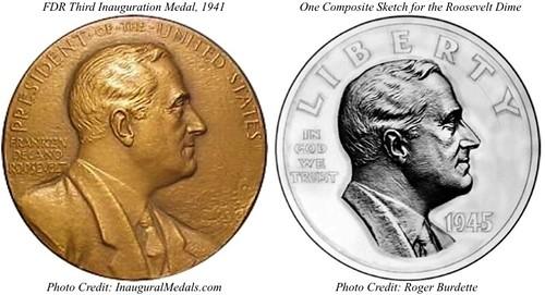 FDR Medal vs Roosevelt Dime composite image