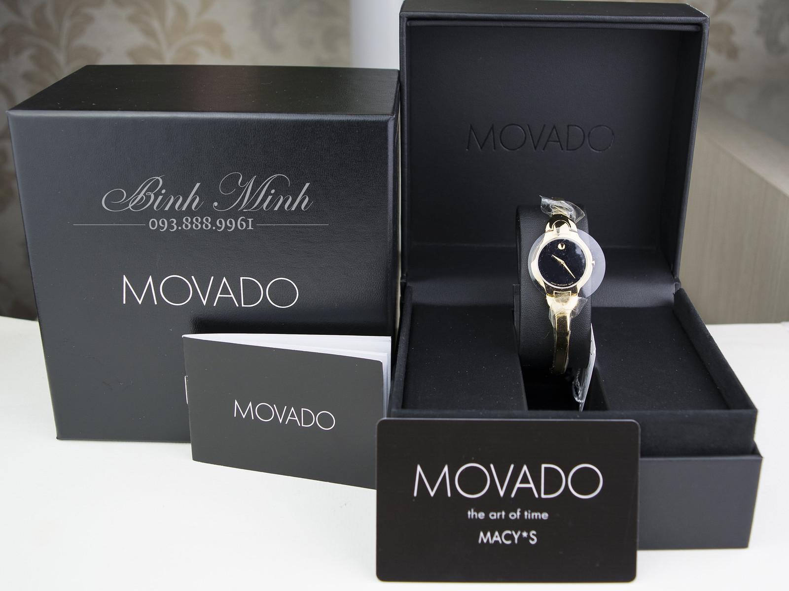 Kính Phố Đồng hồ nữ Movado Kara mạ vàng PVD, mới 100%, đủ hộp sổ thẻ