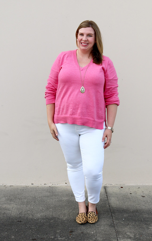 pink sweater, white jeans and leopard loafers 2