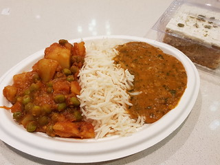 Curries (Potato and Pea and Daal) and Carrot Cake from Vegeto