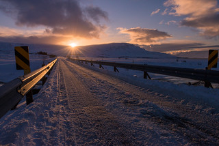 Iceland has some narrow road bridges - and some wonderful sunsets!