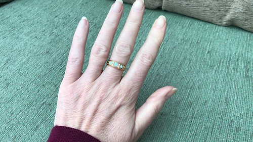 Beautiful survivor of a bygone age!  This opal and diamond ring was made in Chester, England in 1901....just as the sun went down on the Victorian Era.