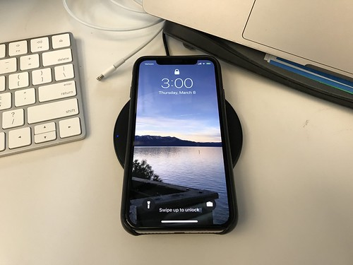 iPhone X with Anker wireless charger