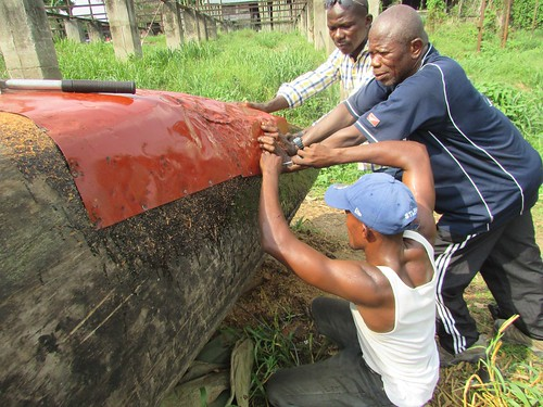 repairing dugout with metal sheet