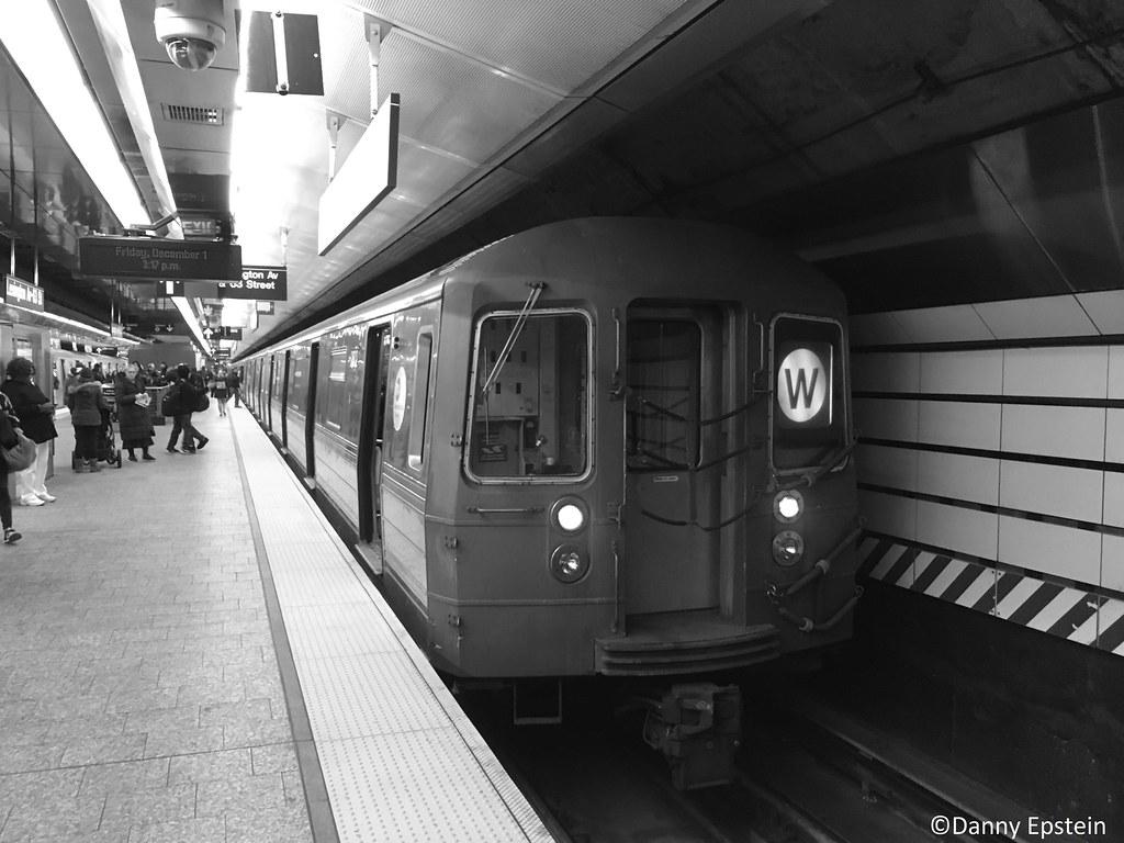 R-68a (W) train via the (Q) line at Lex-Av 63rd street
