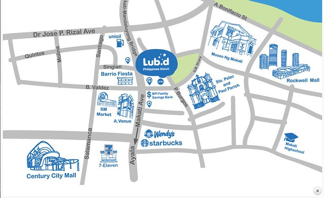 Lub-D-Makati Hostel Location Map