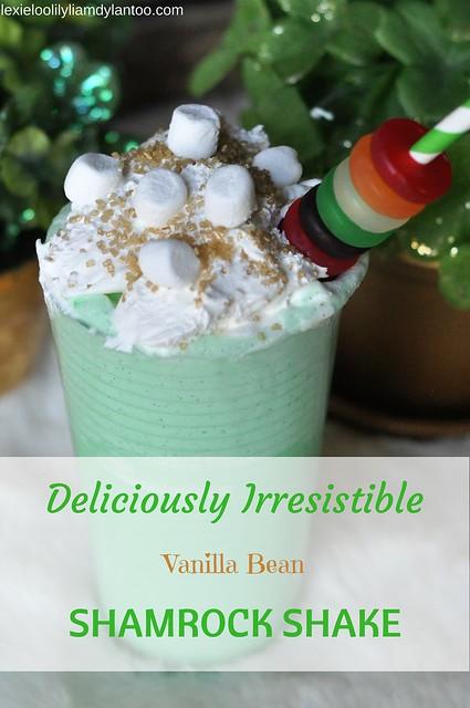 Delicously Irresistible Vanilla Bean Shamrock Shake for St. Patrick's Day #stpatricksday #milkshake #shamrockshake #recipe #foodblogger