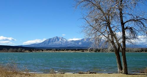 spanishpeaks huerfano county walsenburg colorado lake trees snow mountains shore lathropstatepark statepark park