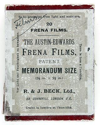 Caja de negativos de las cámaras Frena. R & J Beck Ltd, London. Colección de Early Photography