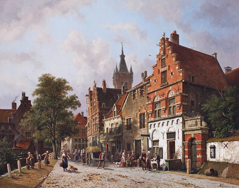 Adrianus Eversen - A View In Delft (1885)