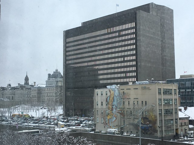 The view towards Old Montreal from the hotel at Viger and St-Urbain.