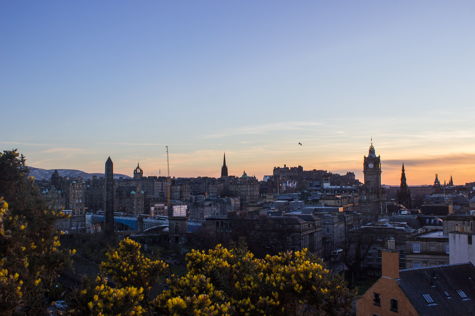 Watching the sunset over Edinburgh from Calton Hill