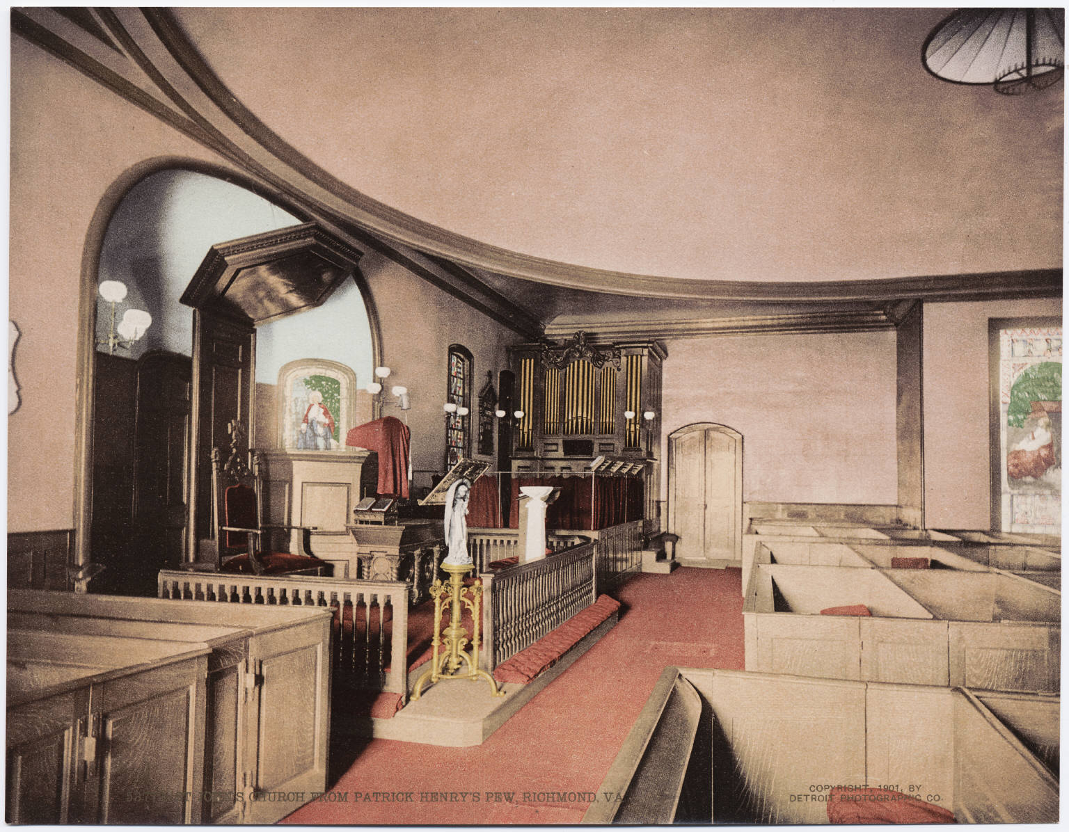 View of St. John's Church in Richmond, Virginia, as seen from Patrick Henry's pew, circa 1901.