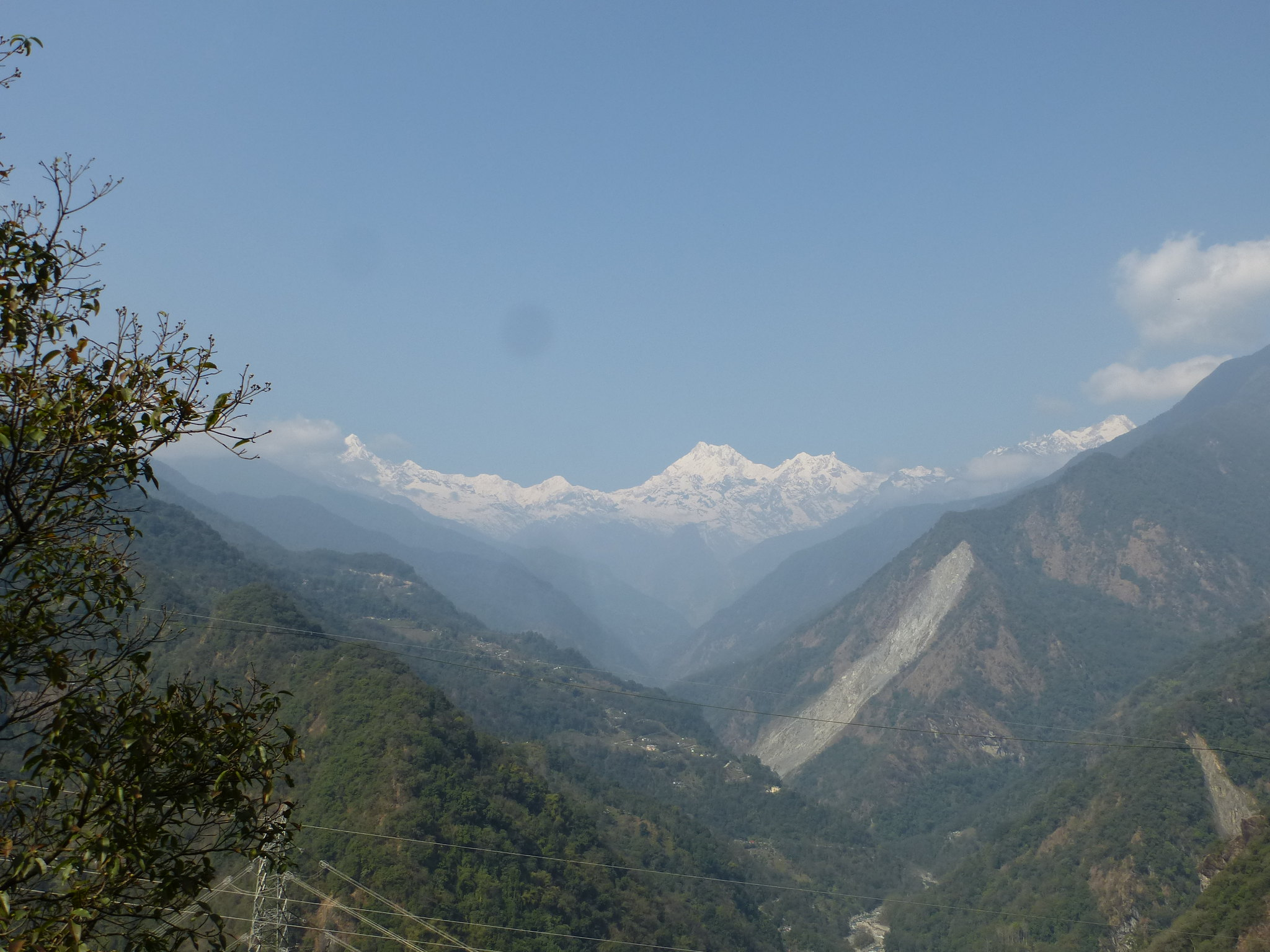 A view of Dzongu with the Mantam landslide visible on the right. The Rongyoung flows through the valley.