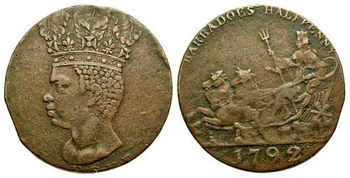 1792 Barbados Halfpenny Token