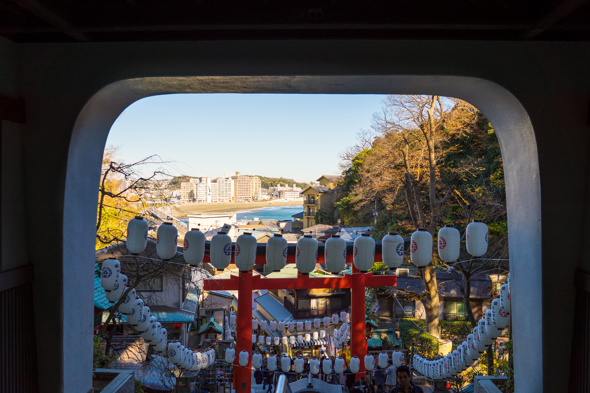 Looking outward from Enoshima-jinja Shrine