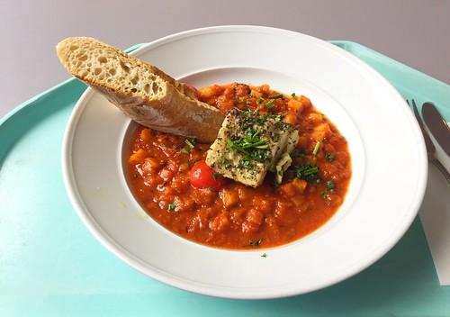 Codfish sicily style with potato dices & ciabatta / Kabeljau auf sizilanische Art mit Kartoffelwürfeln & Ciabattabrot