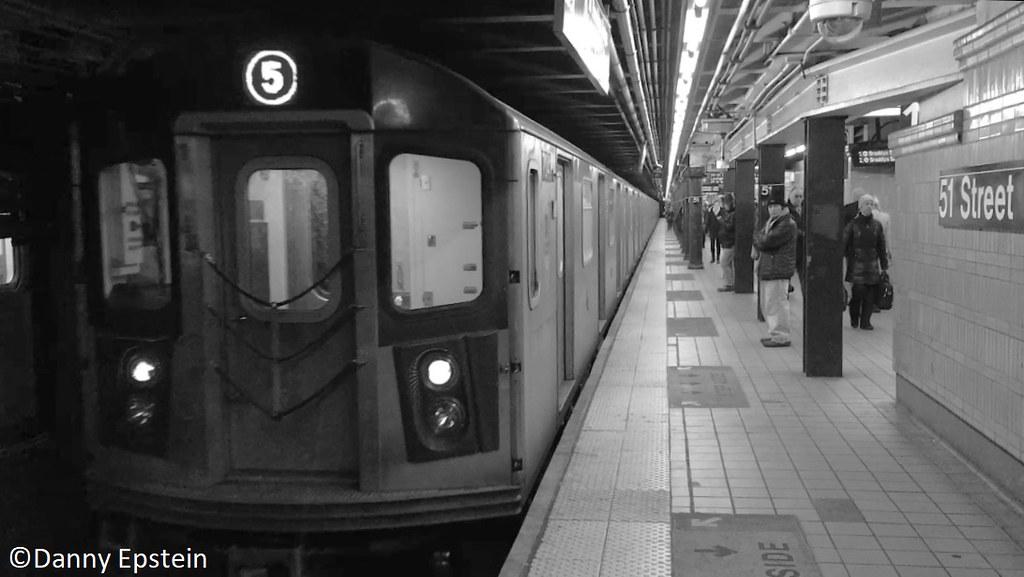 R-142a (5) train via the (6) line at Lex-Av 53rd street