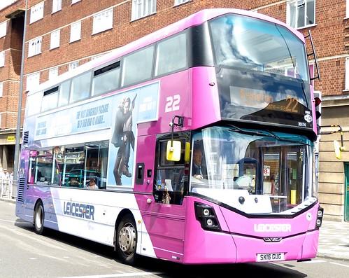SK16 GUG 'First Leicester' No. 35174 '22' Wright Streetdeck on 'Dennis Basford's railsroadsrunways.blogspot.co.uk'
