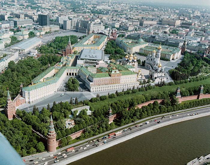 Moscow, Kremlin. Bird's Eye View from the southwest. Московский Кремль. Вид со стороны Москвы-реки.