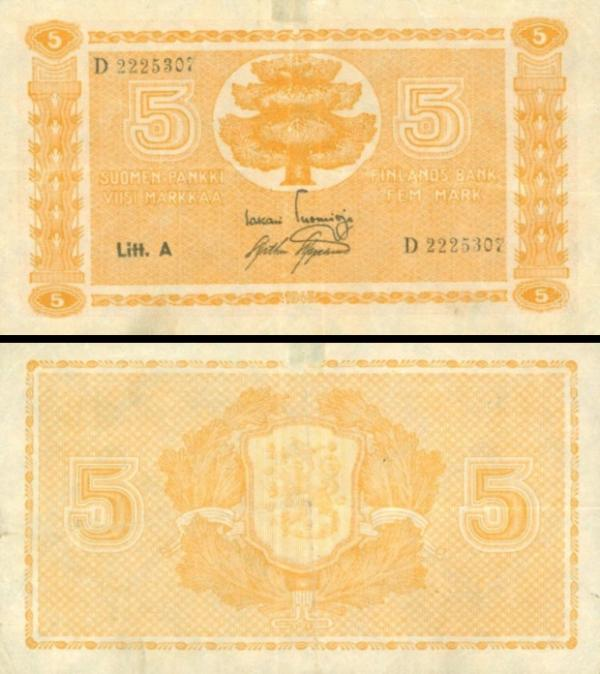 5 Markka Fínsko 1945, P76