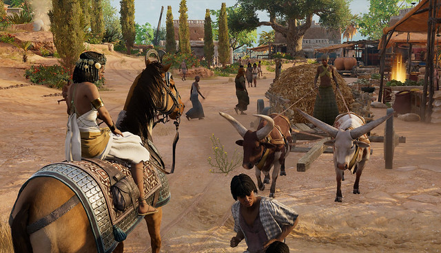 Heavy traffic in an ancient Egyptian village in Ubisoft's Assassin's Creed Origins Discovery Tour