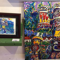 A 1000 Chinese have gone though the studio gallery in 8 months. The have not spent one shelled!! Plan B they love my alert bay grave yard painting. Next to the original is the print. $45. Wish me luck!! ##artoftheday #gallery #gallery #paint #instaart #cr