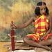 DSC_1271 Stony Traditional African Cultural Kenyan Cloth Costume with Beaded Headdress Maasai Hunting Knife and Springbok Animal Skin Photo Shoot Shoreditch Studio London