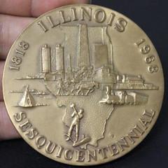 1968 Illinois Sesquicentennial Bronze Medal reverse