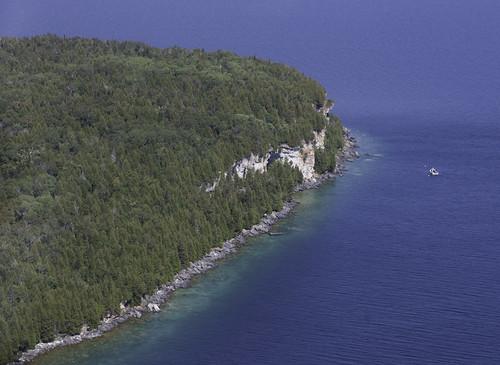 aerialview bearsrumpisland georgianbay ontario canada fathomfivenationalmarinepark niagaraescarpment