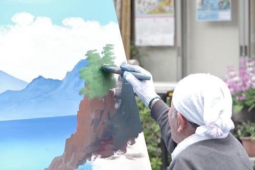 Mt.Fuji public bath landscape live painting 18