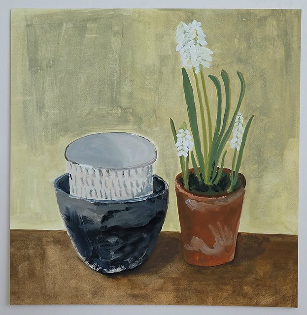 Stacked vessels and muscari in terracotta pot. Gouache on Fabriano paper (21.5cm x 21cm)