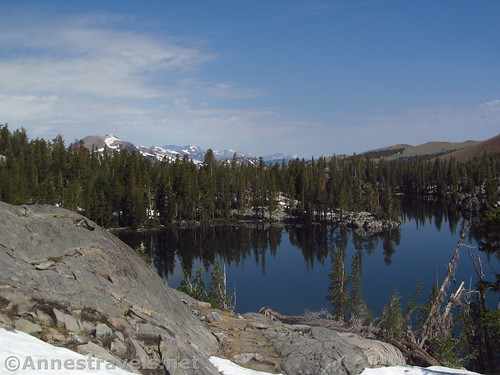 Looking north toward Mammoth Mountain across Skelton Lake along the Duck Pass Trail in Inyo National Forest, California