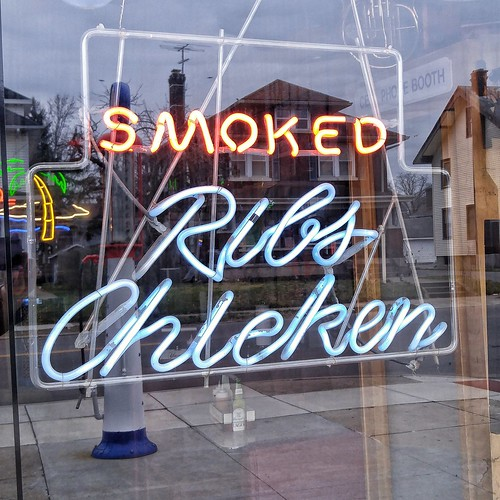 Neon Sign - Smoked Ribs and Chicken - Combs BBQ Central - Middletown, Ohio