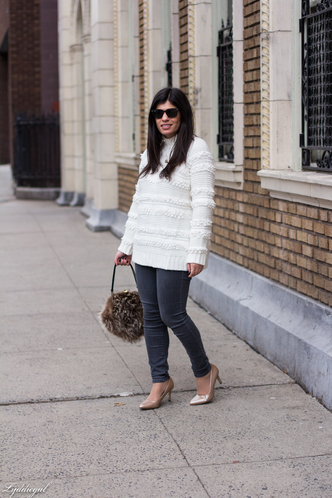 Loft Snowbird Sweater, Grey Jeans, Fur Bag, Nude Pumps Outfit-15.jpg