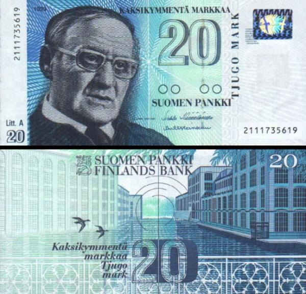 20 Markka Fínsko 1993, P123