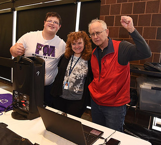 Tue, 02/13/2018 - 13:18 - Richard Beatty (right) with Kelli Pease (center), WGCC faculty advisor, and student announcer Austen Vroman (left) at GCC's recent Student Club Fair