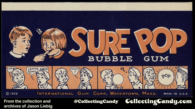 International Gum Corp - Sure Pop bubble gum - Watertown Mass - gum wrapper - 1929