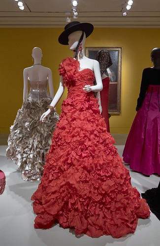 Oscar de la Renta, Evening Dress, resort 2013, silk, courtesy of Oscar de la Renta Archive (worn by Beyoncé Knowles in Vogue magazine, March 2013). Installation view of The Glamour and Romance of Oscar de la Renta at the Museum of Fine Arts, Houston, October 8, 2017–January 28, 2018. Photo by Thomas R. DuBrock.