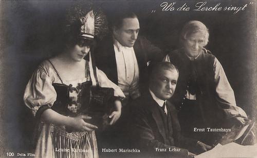 Louise Kartousch, Hubert Marischka, Franz Lehar and Ernst Tautenhayn in Wo die Lerche singt (1918)