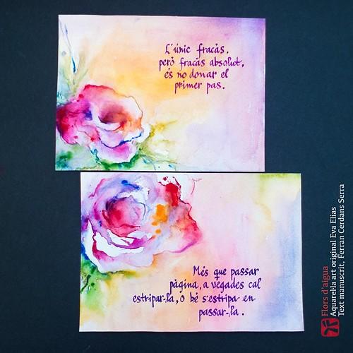 Dues roses de Sant Jordi. Aquarel·la de l'artista Eva Elias, text propi manuscrits per l'autor, Ferran Cerdans Serra.