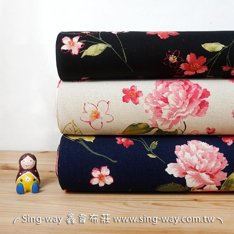 玫瑰櫻花 典雅花卉 手工藝DIy拼布布料 CF550638