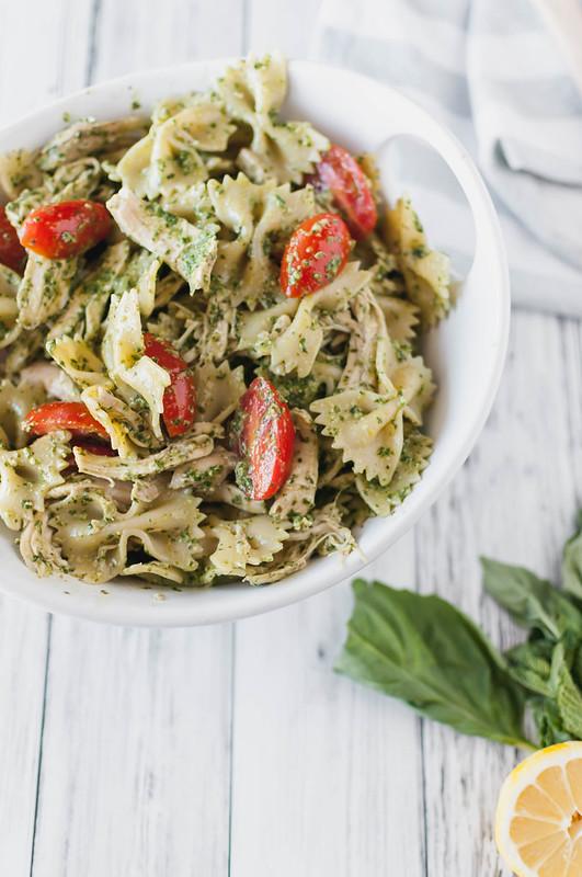 Lemony Mint Pesto Pasta Salad
