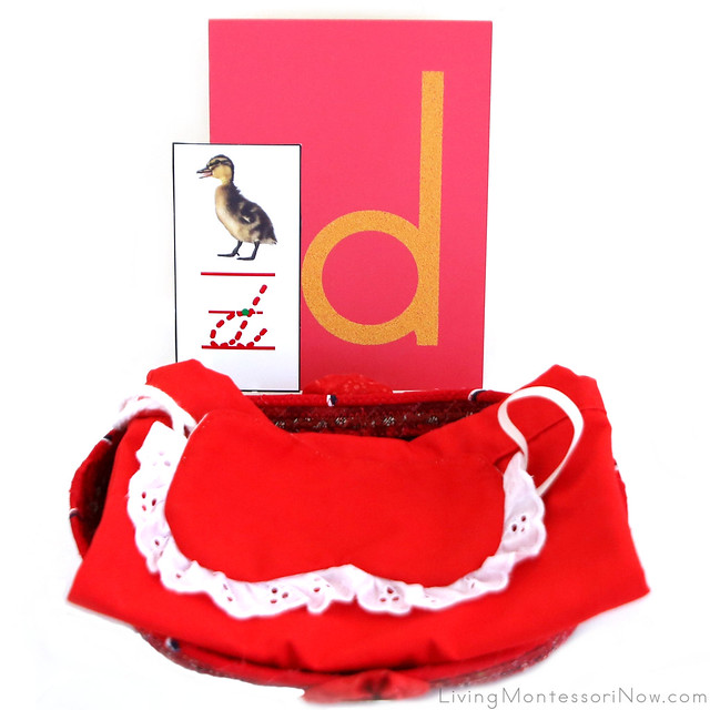 Letter D Object Basket with Mystery Bag and Blindfold