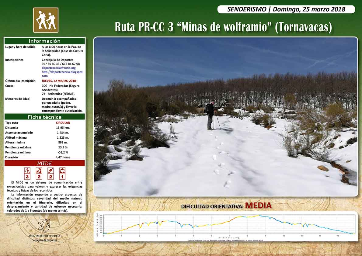 Ruta senderista para el mes de marzo con lugar de inicio y llegada en la localidad de Tornavacas