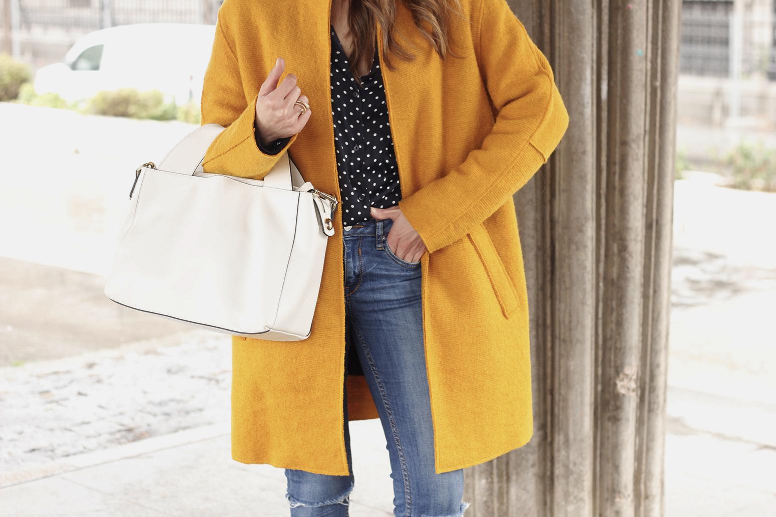 mustard coat polka dots shirt leopard heels white bag outfit 11