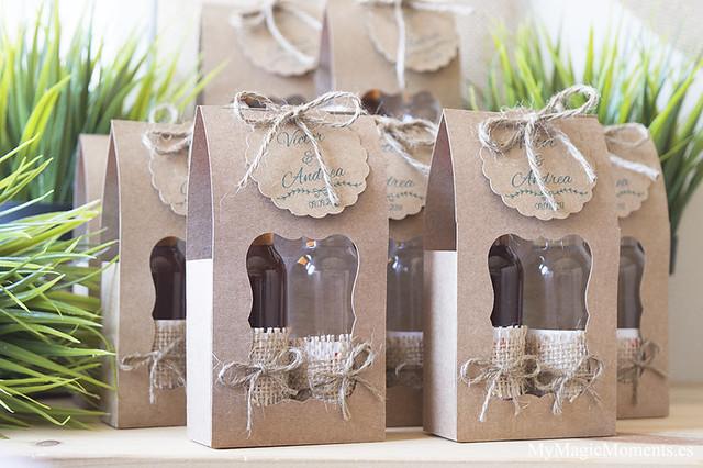 Estuches kraft botellitas licor para bodas