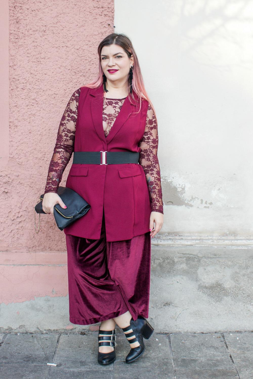 outfit monocolore, monocromatico plus size panta palazzo come le ciliegie (3)